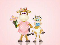 Mom cow Royalty Free Stock Images