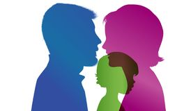Mom and dad adopt a child. Adoption. Vector color profile silhouette royalty free illustration