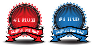 Mom and dad badges. Illustration with two colorful badges with the text number one mom and dad written on the badges Stock Image