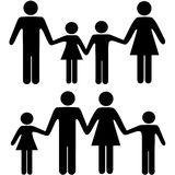 Mom dad boy girl family holding hands symbols. People symbols of a mom dad boy and girl family holding hands in two versions Royalty Free Stock Image