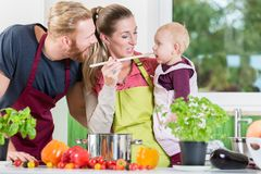 Mom, dad and child in kitchen royalty free stock image