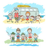 Mom, dad and childrens happy family sketch Royalty Free Stock Photo