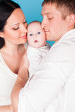 Mom dad daughter little kid family. Nice Royalty Free Stock Photography