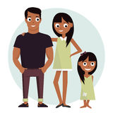 Mom and dad with daughter. Vector illustration isolated on white background happy family. Mom and dad with the child. Vector illustration isolated on white Royalty Free Stock Image