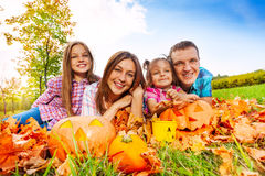 Mom dad and daughters in autumn portrait Royalty Free Stock Photography