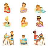 Mom and dad feeding their babies set for label design. Colorful cartoon characters Stock Photo