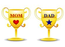 Mom and Dad Gold Trophies. An illustration featuring your choice of gold mom and dad trophies with red heart and blue star Stock Photos