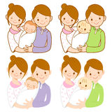 The mom and dad holding newborn baby. Home and Fam Stock Photo