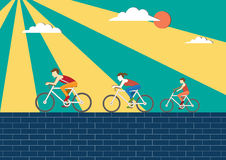 Mom, Dad and kids ride bikes,Sport family, illustrations. Mom, Dad and kids ride bikes,Sport family Royalty Free Stock Image
