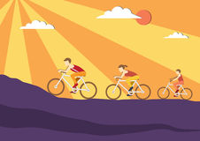 Mom, Dad and kids ride bikes on sunset backgrounds,Sport family, illustrations Stock Photo