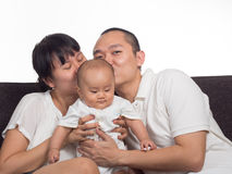 Mom and dad kiss baby Stock Image