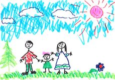 Mom and Dad and little girl. Children's picture drawn on white paper office markers. Scan images of children's drawings markers on office paper Stock Image