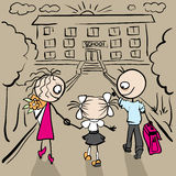 Mom and Dad are my daughter to school Stock Images