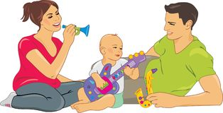 Mom and Dad playing with a baby. Illustration Royalty Free Stock Photos