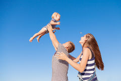 Mom dad son at Pebble Beach royalty free stock photo