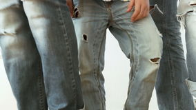 Mom, dad and son young modern family  wear in ripped jeans photo session stock video footage