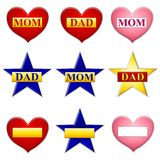 Mom and Dad Stars Hearts Icons. An illustrated collection of hearts and stars as icons with mom and dad logos, with bottom row blank fot custom texts Royalty Free Stock Photo