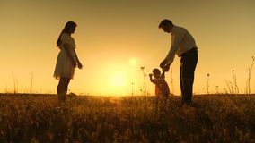 Mom and dad are taught to go to small daughter, young beautiful family in park with a child at sunset stock footage