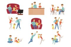 Mom, dad and their little son spending time together set, happy family and parenting concept vector Illustration on a. Mom, dad and their little son spending stock illustration