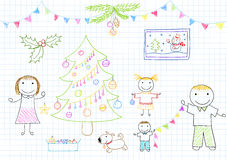 Mom, dad and two children decorates Christmas tree Royalty Free Stock Images
