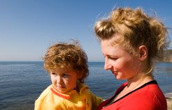 Mom and  daughter. Mother and  daughter at the sea Royalty Free Stock Photo