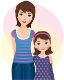 Mom and daughter. Vector illustration: a mother and daughter stock illustration
