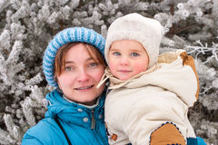 Mom and daughter. Walking at freeze day Royalty Free Stock Photography