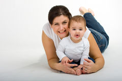 Mom and Daughter. In a Studio Setting royalty free stock photography