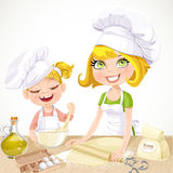 Mom and daughter baking cookies Royalty Free Stock Image