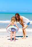 Mom daughter beach fun Royalty Free Stock Photo