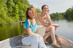 Mom and Daughter in boat Royalty Free Stock Photo