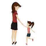 Mom and daughter - Brunette mom and daughter are holding hands a Stock Image