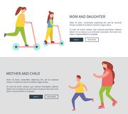 Mom and Daughter and Child Vector Illustration. Mom and daughter and child, designed web-pages with icons of family activities, sample text, headline and buttons royalty free illustration