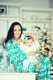 Mom and daughter in the Christmas mood. Royalty Free Stock Images