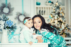 Mom and daughter in the Christmas mood. Royalty Free Stock Image
