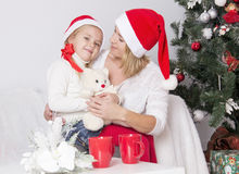Mom and daughter at Christmas Royalty Free Stock Images