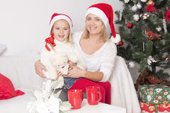 Mom and daughter at Christmas Royalty Free Stock Photography