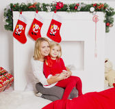 Mom and daughter at Christmas Stock Photo