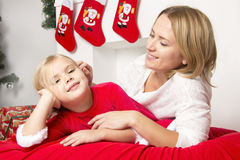 Mom and daughter at Christmas Royalty Free Stock Photo