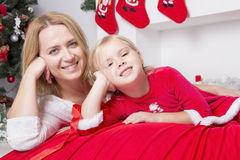 Mom and daughter at Christmas Stock Photography