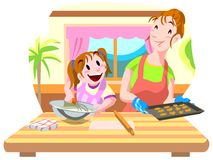 Mom and daughter cooking cookies Royalty Free Stock Photos