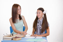 Mom and daughter doing homework together Royalty Free Stock Image