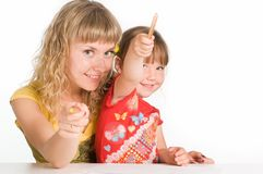 Mom and daughter drawing Royalty Free Stock Photos