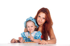 Mom and daughter drawing Royalty Free Stock Image