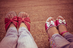 Mom and daughter feet Royalty Free Stock Images