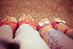 Mom and daughter feet Royalty Free Stock Image