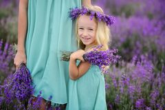 Happy family in a field of lavender. Mom and daughter in a field of lavender stock photos
