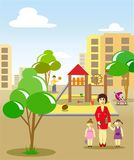 Mom and daughter goes to the playground vector illustration