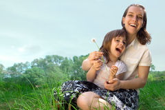 Mom and daughter having fun Stock Images