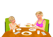 Mom and Daughter Having Morning Breakfast Together Royalty Free Stock Photos